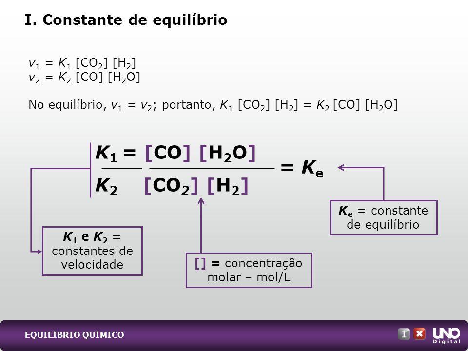 K1 = [CO] [H2O] K2 [CO2] [H2] = Ke I. Constante de equilíbrio